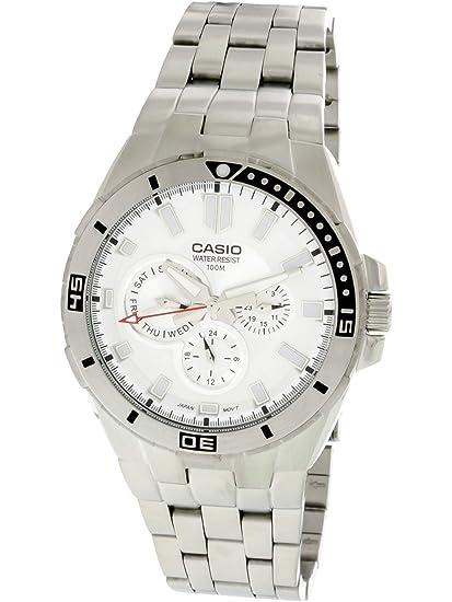 CASIO 19152 MTD-1060D-7A - Reloj Caballero Cuarzo Brazalete metálico dial Blanco: Casio: Amazon.es: Relojes