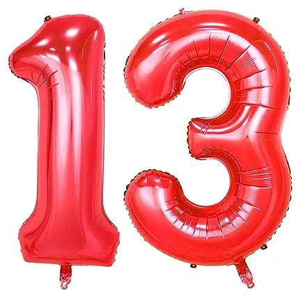 Amazon 40inch Red Foil 13 Helium Jumbo Digital Number Balloons