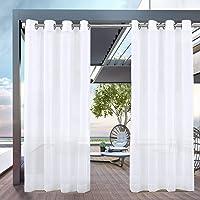 PRAVIVE White Patio Sheer Curtains - Grommet Top Waterproof Light Filtering Mildew Resistant Voile Sheer Drapes for…