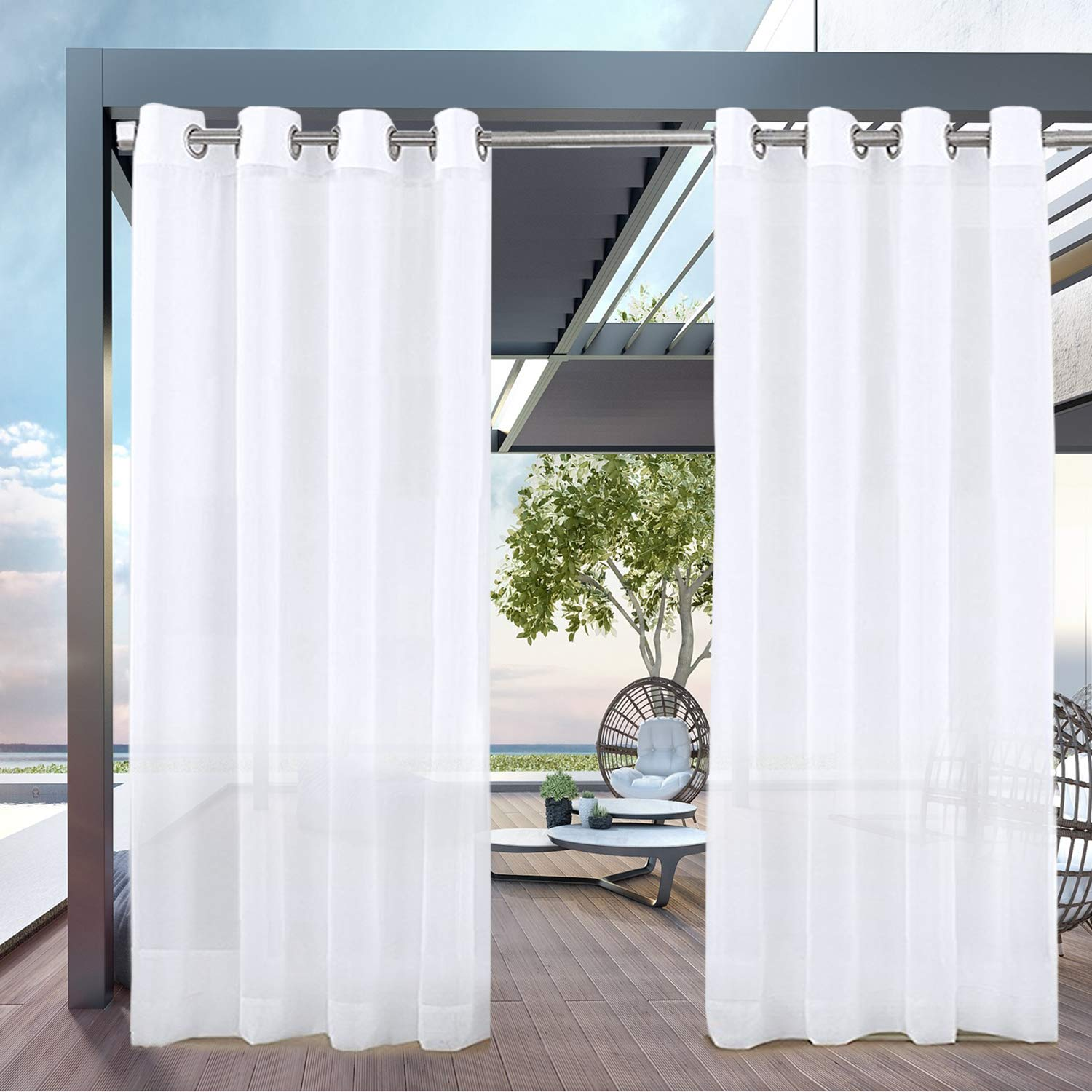 PRAVIVE Outdoor Sheer Curtains 84 - Waterproof Grommet Indoor Outdoor Curtains Patio Privacy White Sheer Drapes Blinds for Porch/Deck/Pergola with Tiebacks, W54 x L84 Inches, 2 Panels