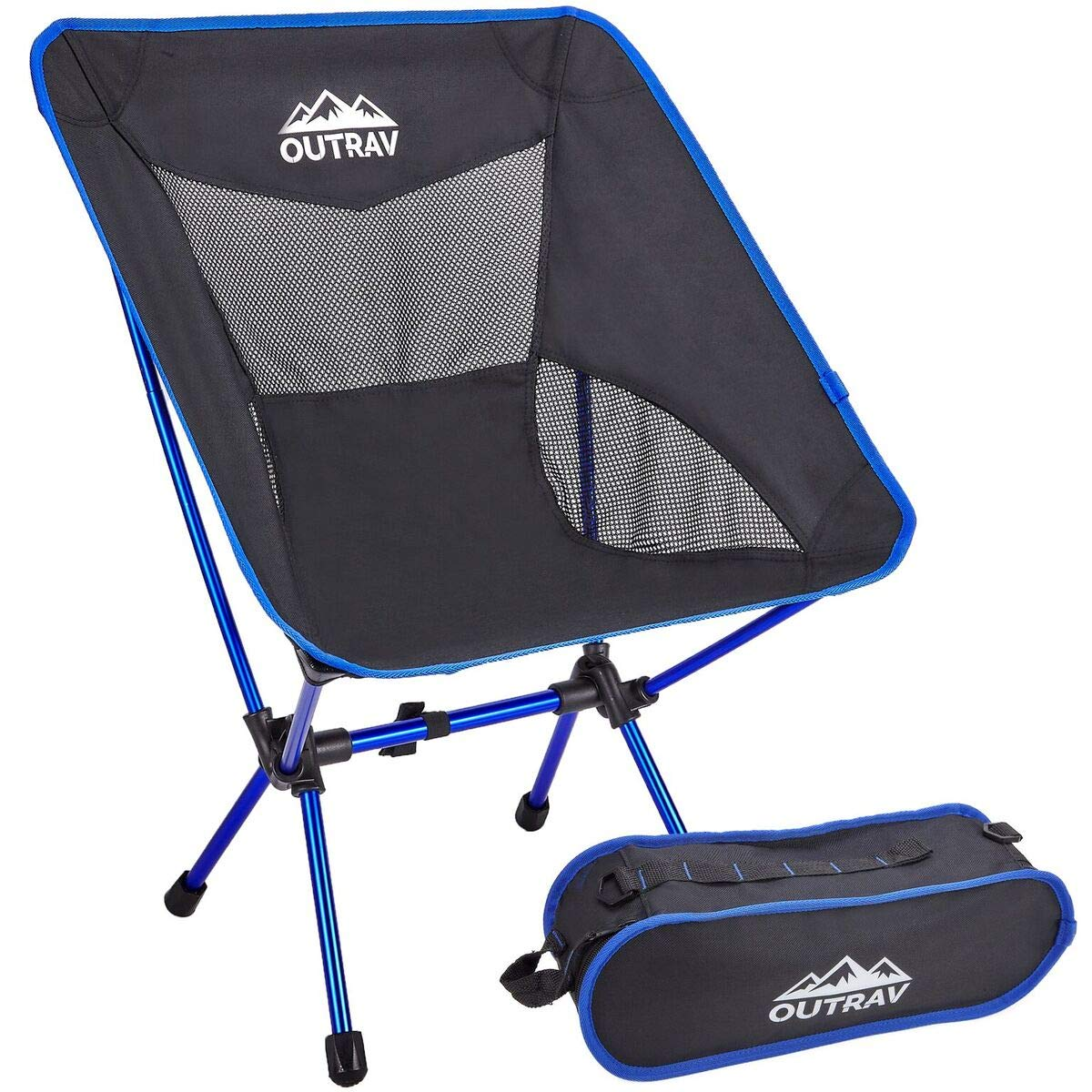 Outrav Portable Hiking Camping Chair, Lightweight Compact Folding Backpacking Chair, Heavy Duty 330lbs Capacity with Carry Bag, Breathable and Comfortable for Outdoor, BBQ, Hiking, Picnic, Fishing