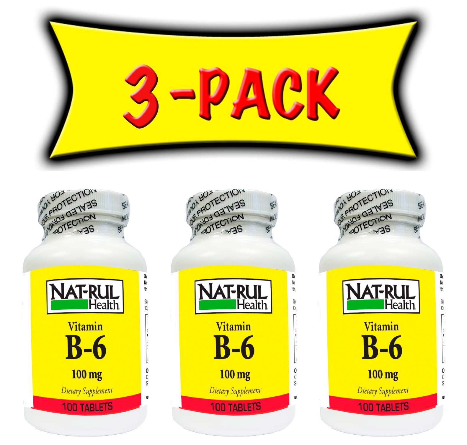 Nat-rul Health B-6 100mg 100 Tablets (3 Pack)