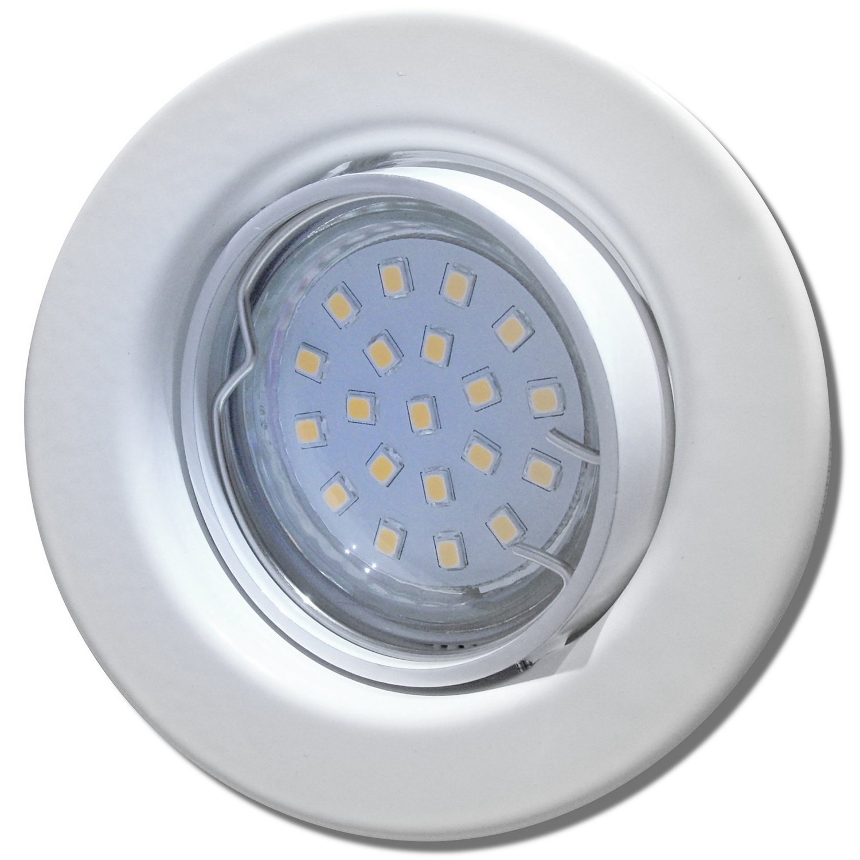 6 Stück SMD LED Einbauleuchte Elena 230 Volt 9 Watt Schwenkbar Weiß Warmweiß