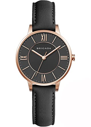 Nice Fashion Elegant Rose Gold Black Ladies Watches, Swiss Brand Leather Band Japanese Movement Waterproof