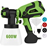 Paint Sprayer for Home, Ginour 600W Hvlp Spray Gun, Electric Paint Sprayers with 5 PCS Filter Papers, 4 Nozzles, 3 Spray Patt