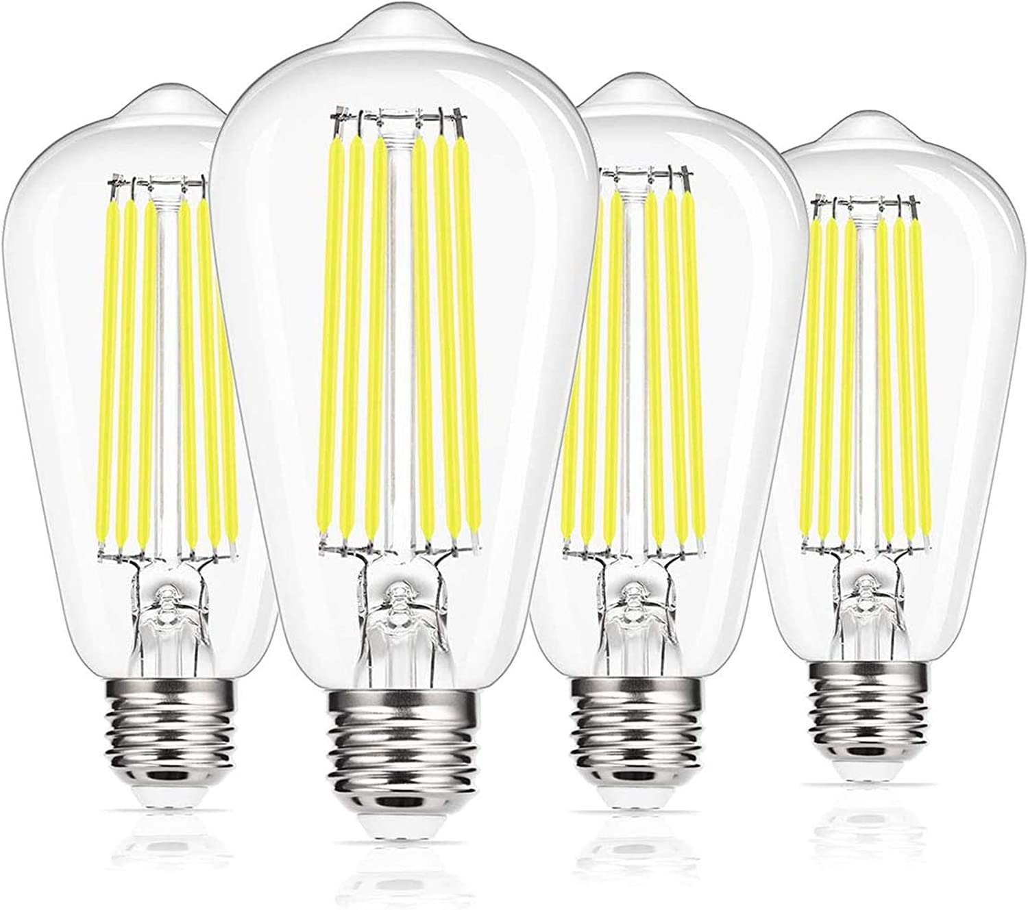 Vintage Led Edison Bulb, DORESshop ST64 Filament LED Light Bulb, E26 Base, 15W(150W Equivalent), 1800LM, Cool White 5000K, Clear Glass Light Bulb for Home, Office, Non-dimmable, 4 Pack