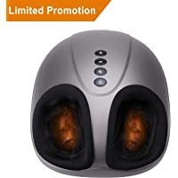 【Limited Promotion】 Shiatsu Foot Massager Electric Heat Kneading -Foot Massage Machine with Rolling and Air Compression for Home and Office for Men and Women