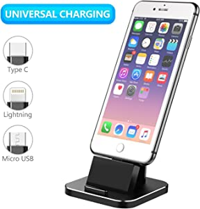 Cell Phone Charger Dock, XUNMEJ Universal Desktop Charging Stand Station for All Android Smartphone Samsung, iPhone X 8 7 6 Plus with Cable for Micro USB Type-C Apple iOS -Black