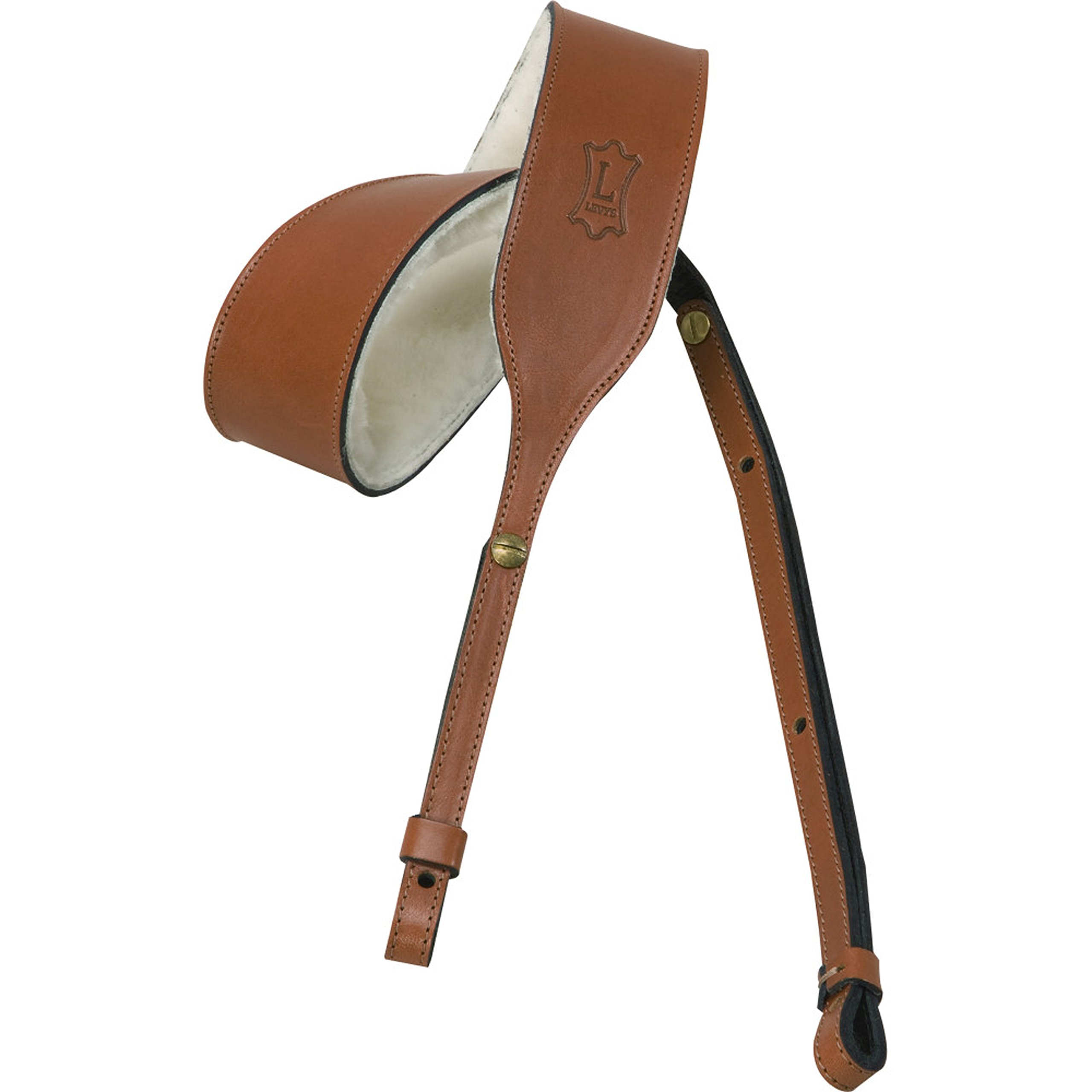 Levy's Leathers PMB32-WAL Carving Leather Banjo Strap, Walnut