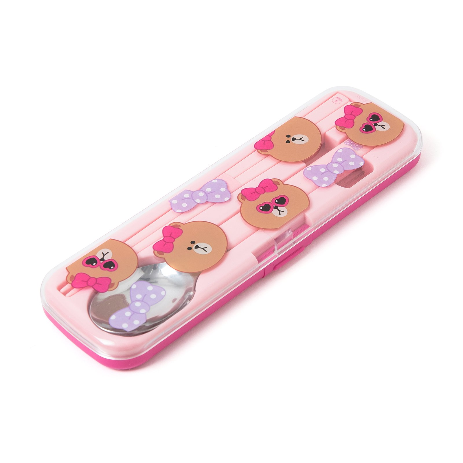 LINE FRIENDS Choco Spoon and Chopsticks Set One Size Pink