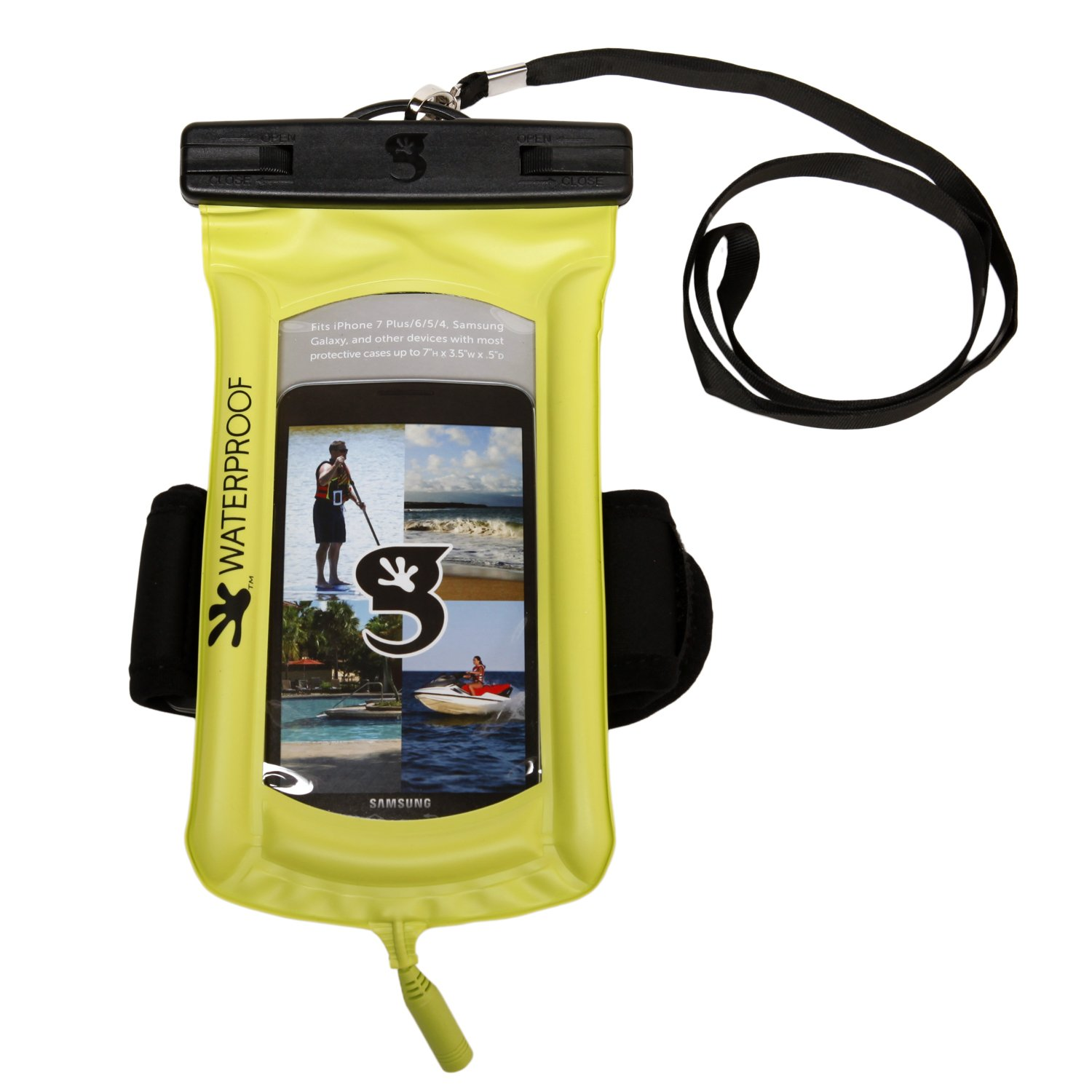 geckobrands Float Phone Dry Bag with Audio Cord & Arm Band- Bright Green