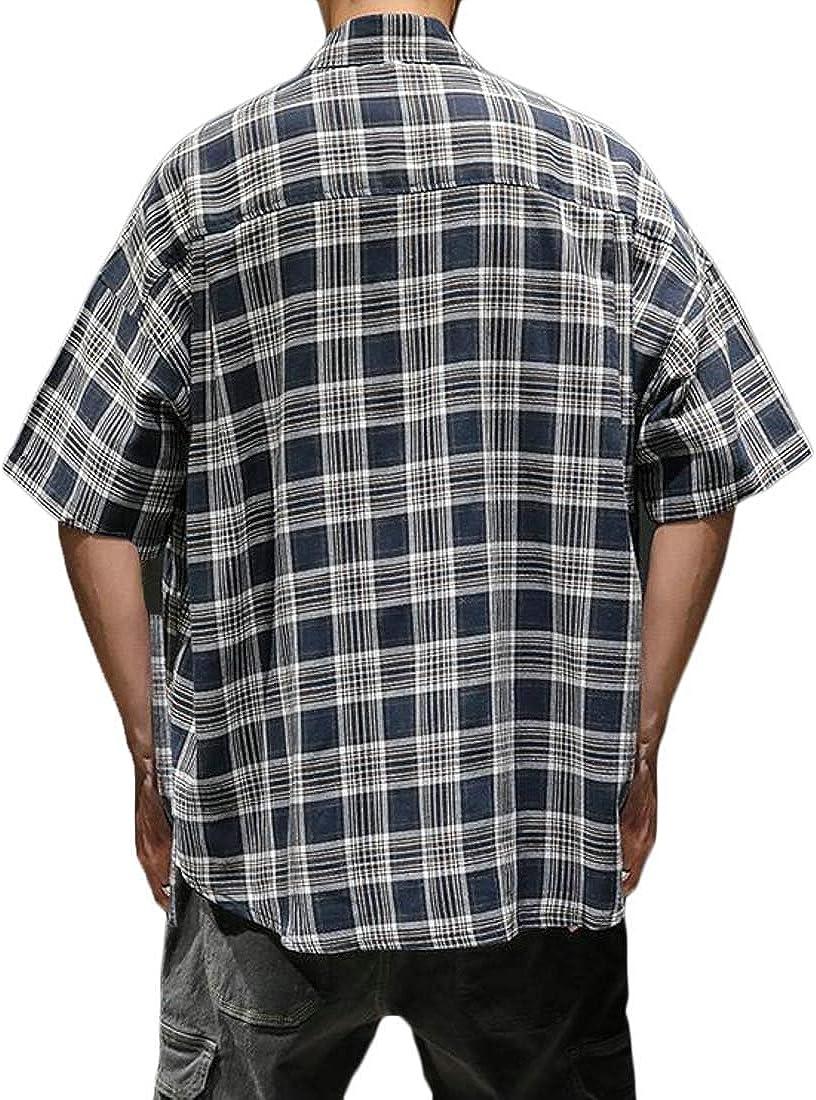 pipigo Mens Autumn Plus Size Lapel Neck Plaid Pocket Button Down Shirts