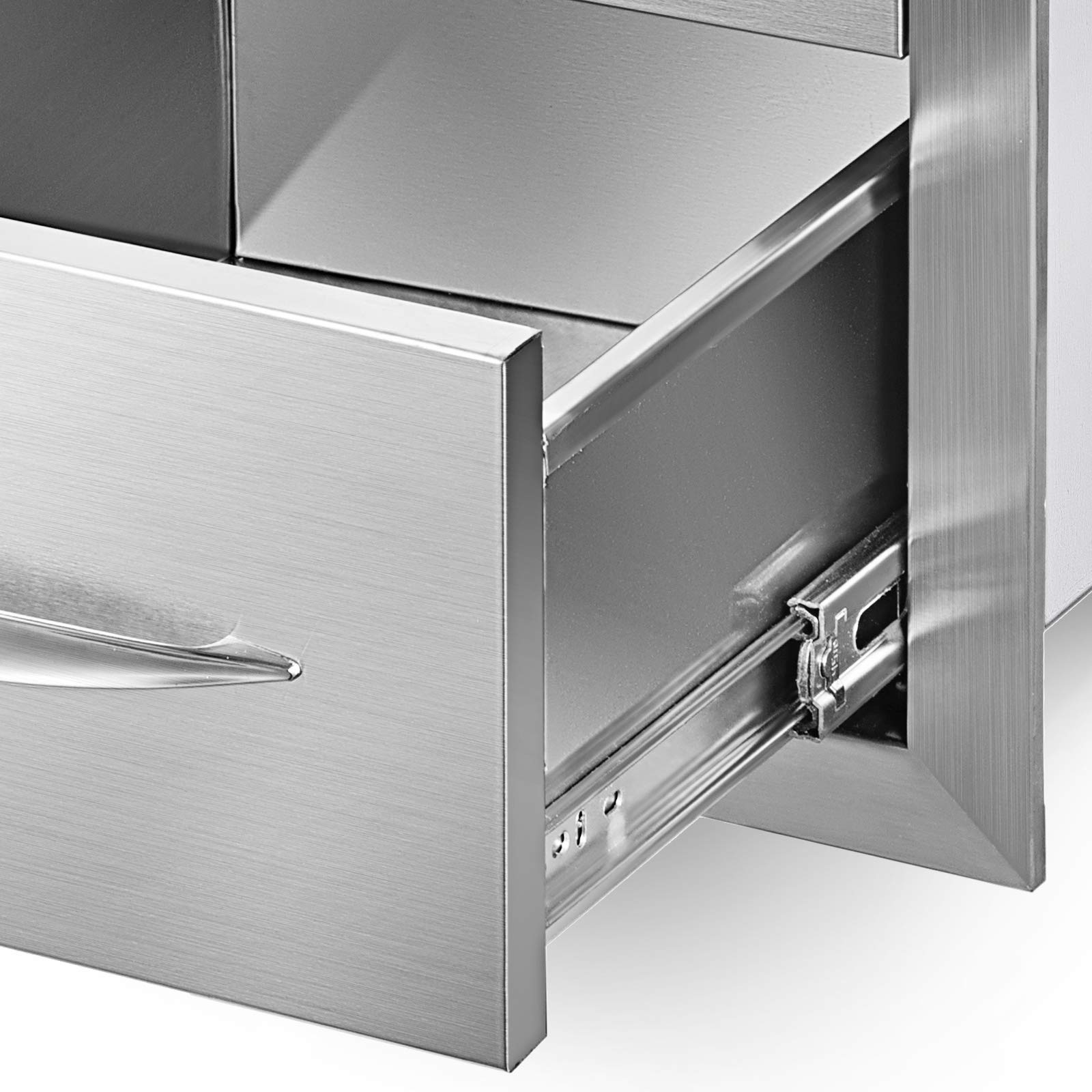 Mophorn 15''x21'' Outdoor Kitchen Drawer Stainless Steel Triple Access Drawer BBQ Storage with Chrome Handle Flush Mount Sliver by Mophorn (Image #7)
