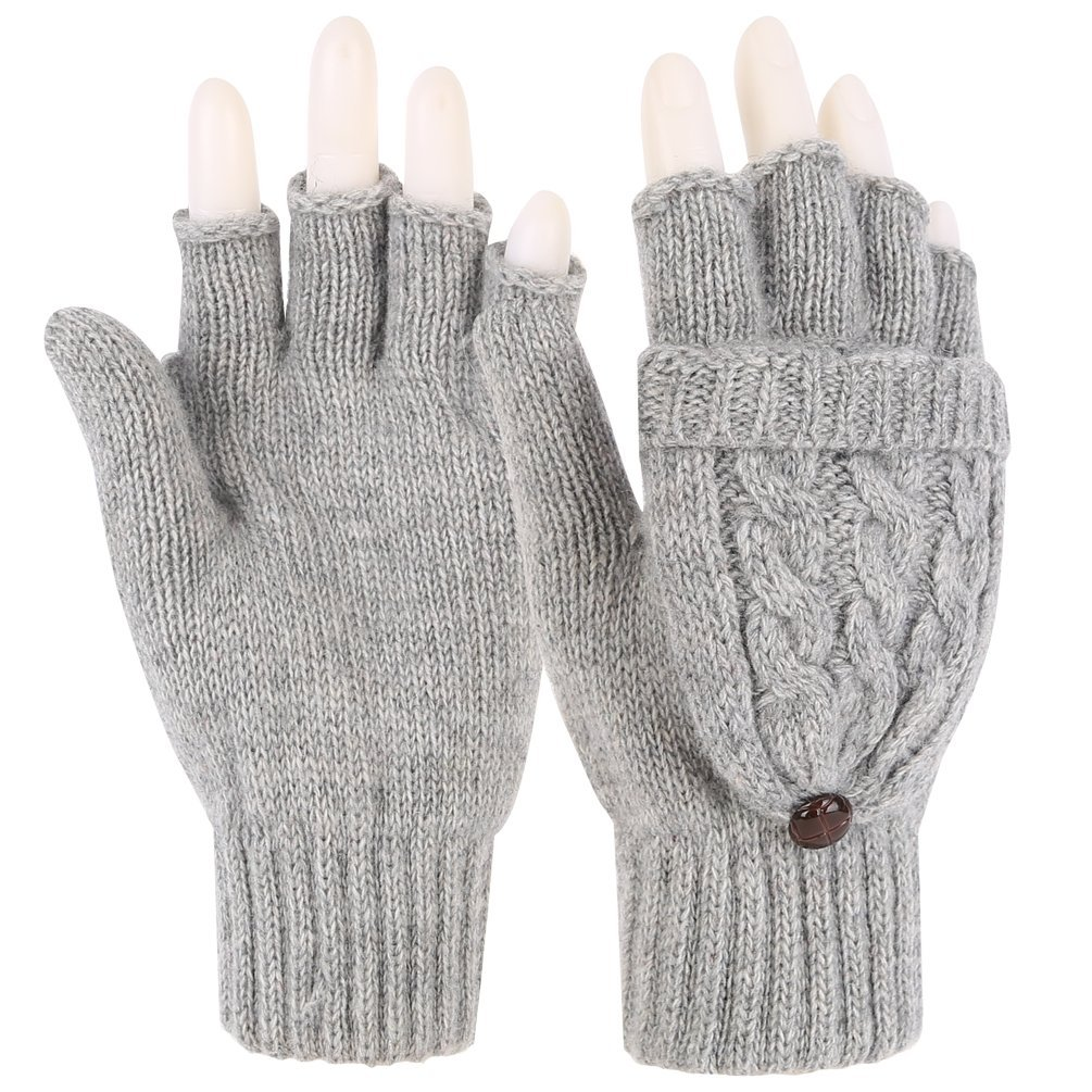 Novawo Women Winter Wool Blend Fingerless Convertible Gloves with Sturdy Chocolate Buttons Gray One Size