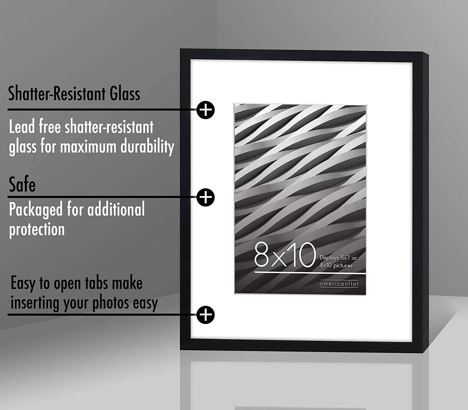 Displays 8x10 inch Photo with Mat or 11x14 inch Photos Without Mat Americanflat Thin Black Picture Frame Tempered Shatter-Resistant Glass Hanging Hardware Included!