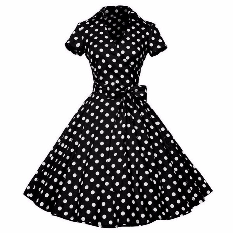 Women Retro Dresses Vintage Rockabilly Swing V Neck Short Sleeves Dot Print Vestidos,1 Red Dot,4XL