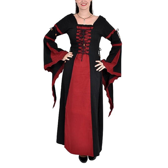 Traje medieval - Vestido medieval Leona - negro y rojo - XL ...
