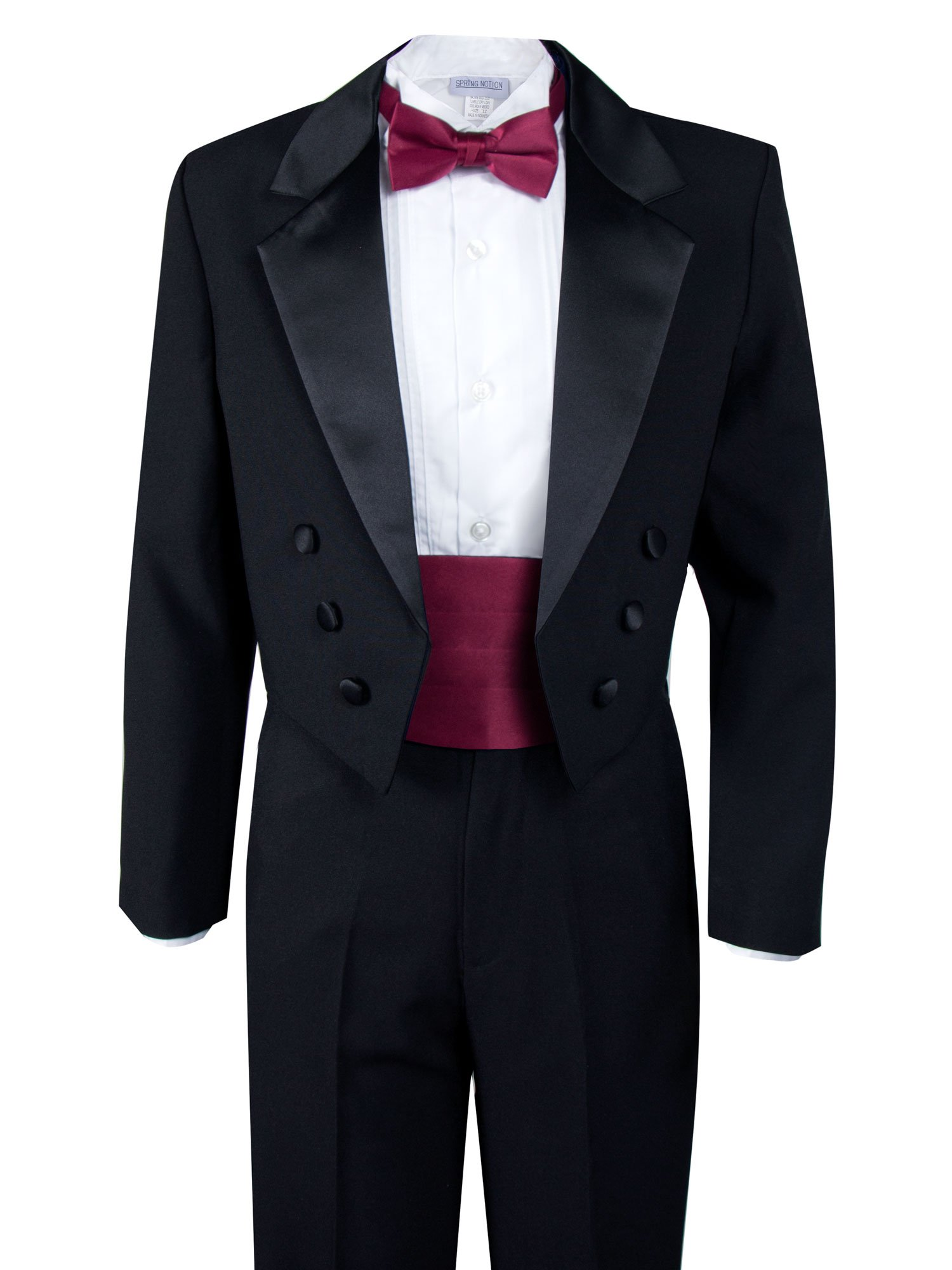 Spring Notion Boys' Black Classic Tuxedo with Tail Burgundy 4T