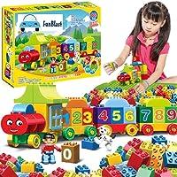 FunBlast Digital Block Train for Kids - Educational Model Vehicle Toys |123 Learning Blocks |Educational Learning Toys - Set of 75 Pcs