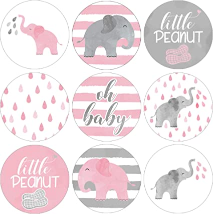 Amazon Com Pink Elephant Baby Shower Favor Stickers 180 Labels Health Personal Care