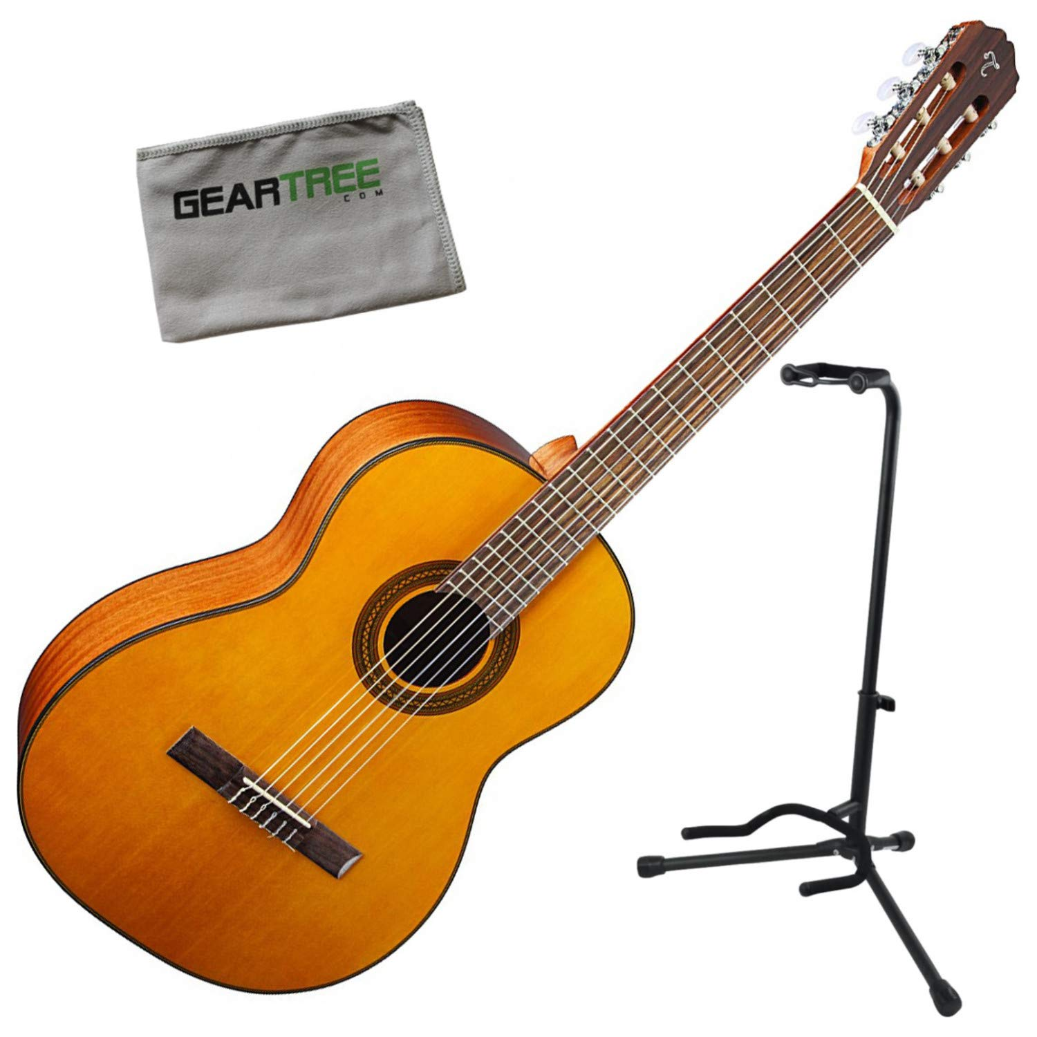 Takamine GC1 NAT Natural Classical Acoustic Guitar Bundle w/Stand by Takamine