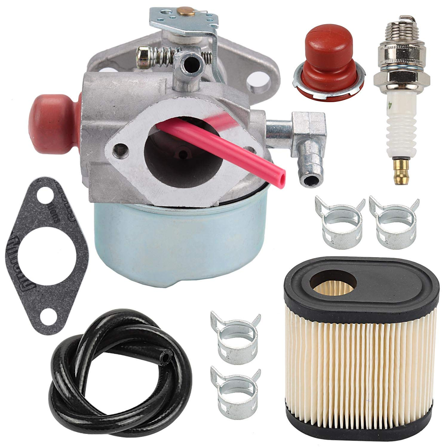 Wellsking 640350 640303 Carburetor + Air Filter Spark Plug for Toro 20016 20017 20018 Recycler Tecumseh LEV100 LEV105 LEV120 LV195EA LV195XA Lawn Mower