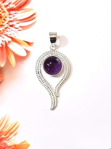 925 Sterling Silver Handmade Pendant Amethyst  Garnet  Natural Semi Precious Gemstone