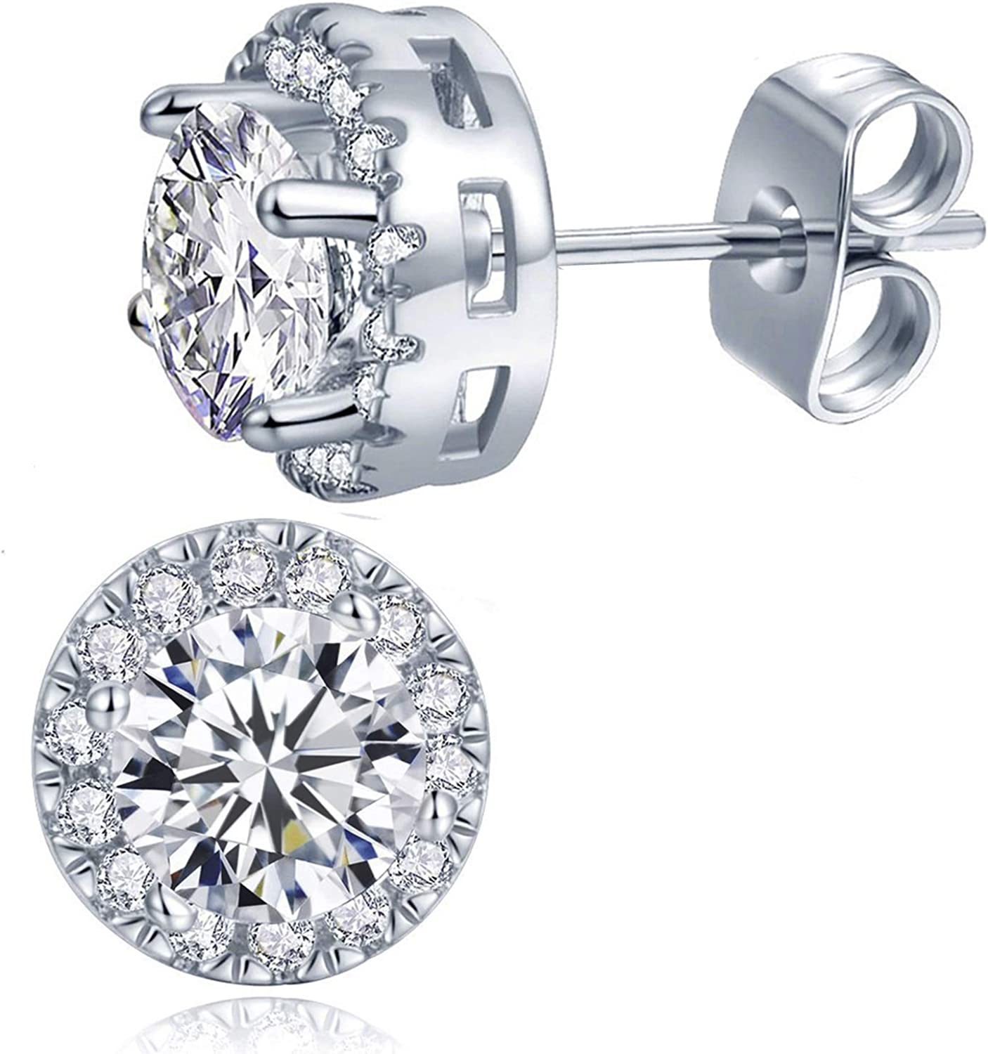 Cubic Zirconia Halo Stud Earrings Gold Plated Hypoallergenic