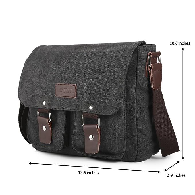 Amazon.com  SMRITI Canvas Messenger Bag Laptop Satchel for School 12-Inch -  Black  Computers   Accessories bcd92d4ac5d03