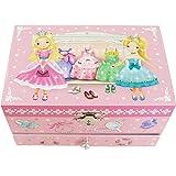 【Lily&Ally】 リリーアンドアリー プリンセス オルゴール付き キッズジュエリーボックス 宝石箱(曲目:虹の彼方に Over the Rainbow) Princess Musical Children's Jewelry Box