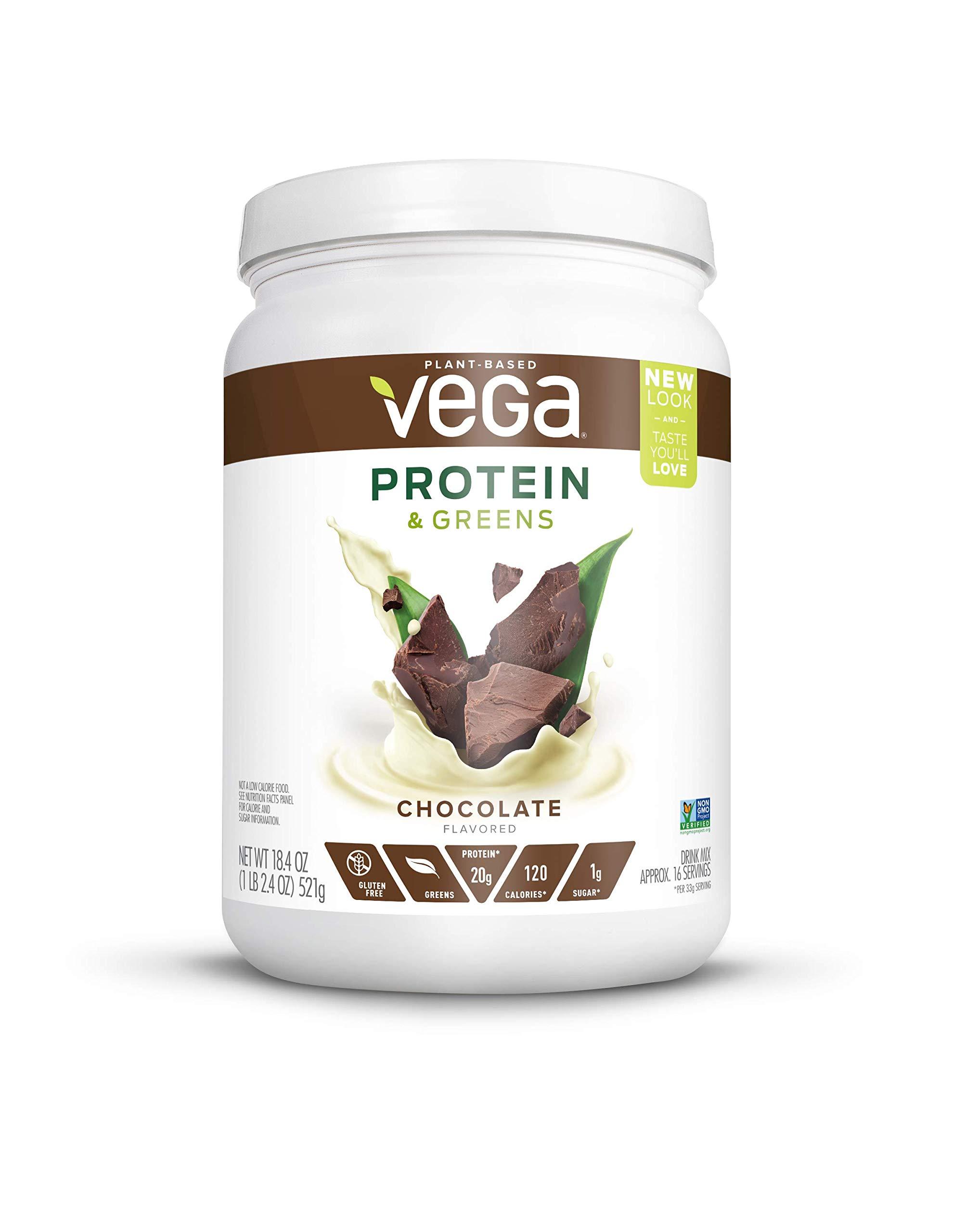 Vega Protein & Greens Tub Powder Chocolate 18.4 Ounce - Plant Based Protein Powder, Gluten Free, Non Dairy, Vegan, Non Soy, Non GMO by Vega