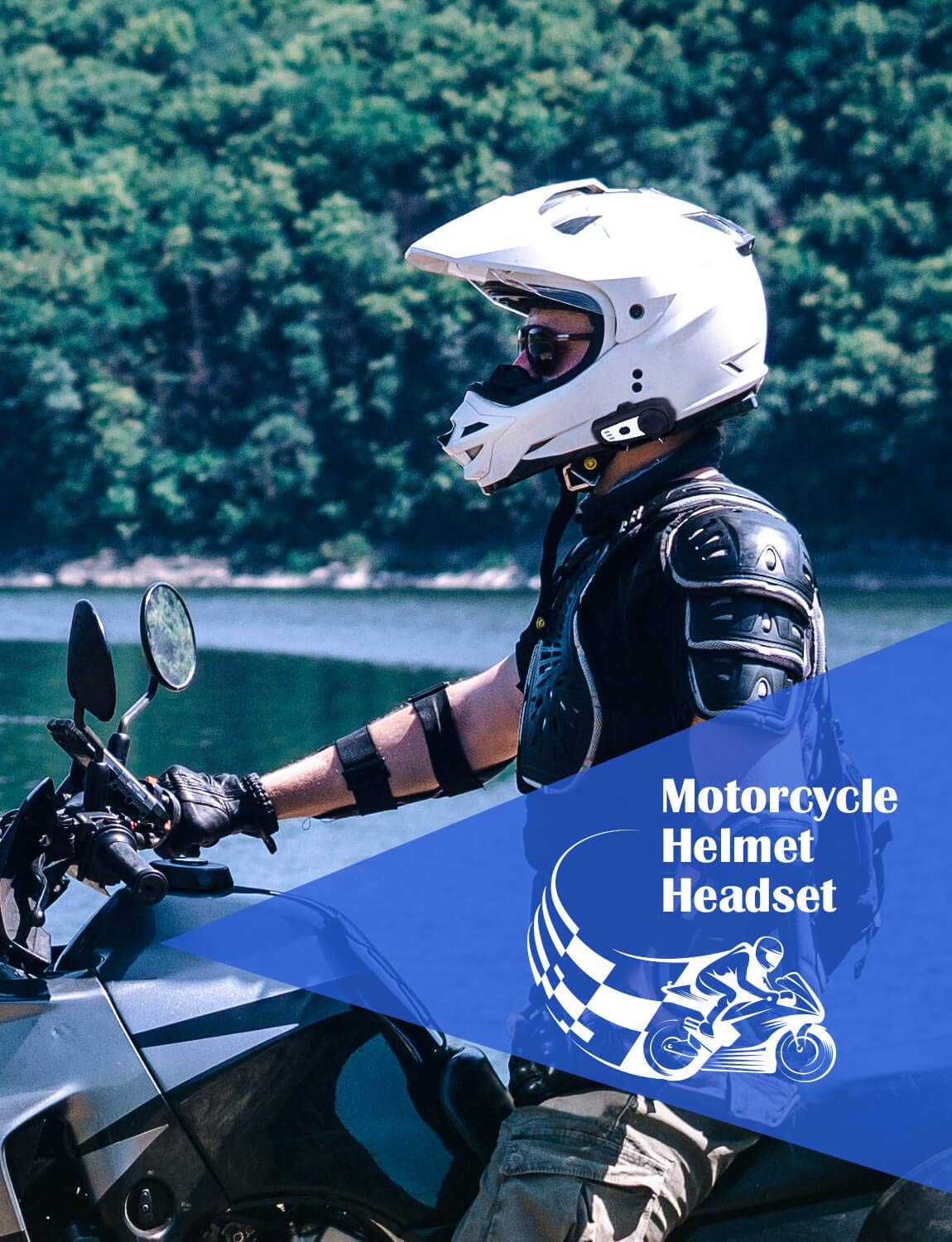 BOBLOV M6 BT Motorcycle Helmet Headset Motorbike Intercom Communication System with Noise Cancellation Technology Built-in FM Radio Stereo Music for Rider and Passenger
