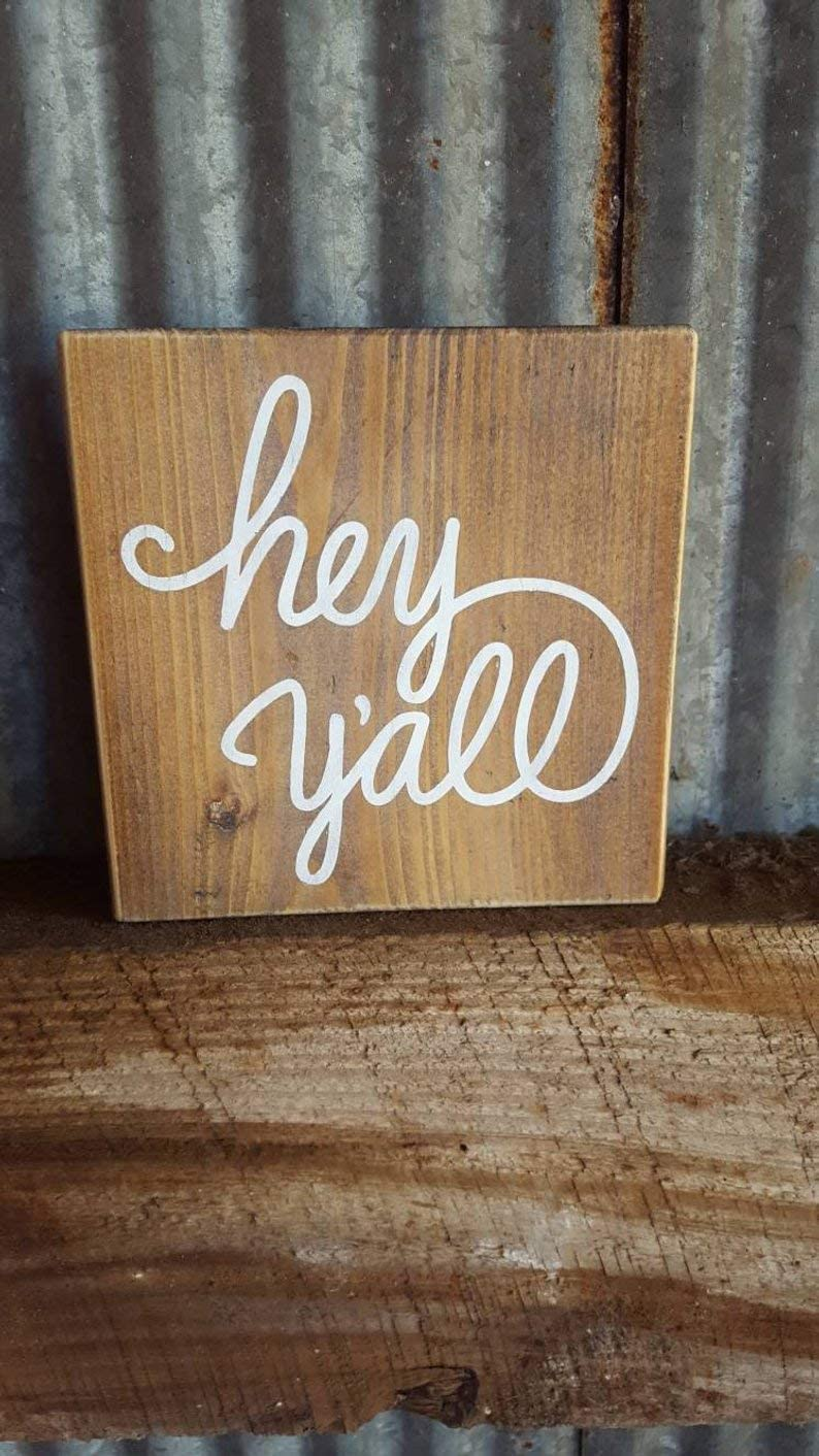 CELYCASY Hey Y'all~Rustic Wood Sign~Hey Y'all Wood Sign~Country Saying~Gifts~Distressed~Small Wood Sign~Wall Art~Wall Decor~Farmhouse