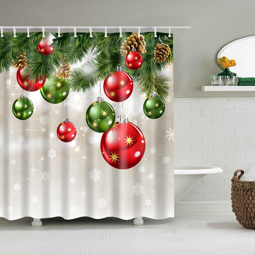 Lulujan Snowflake Ornament Bathroom Shower Curtain Set Waterproof Mouldproof Christmas Thanksgiving Home Decor 72x72