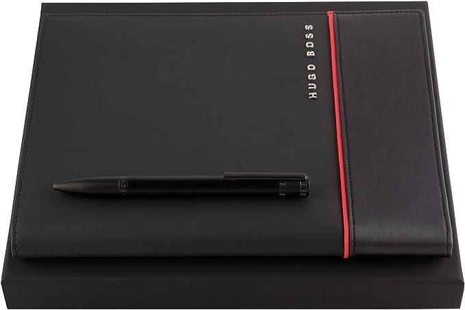 Hugo Boss Explore Brushed - Juego de bolígrafo y carpeta de conferencias, en estuche de regalo A5: Amazon.es: Oficina y papelería