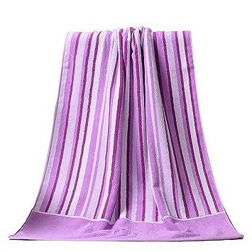 Toallas De Baño Toalla De Baño Algodón Bordado Fuerte Amigable con La Piel Suave Y Cómoda Raya Engrosamiento 140 × 70cm (Color : Purple): Amazon.es: Hogar