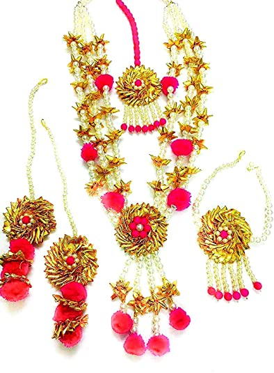 59ebdf038 Buy QUVYARTS Pink Floret Jewellery Flower Gota Patti Set for Women Online  at Low Prices in India   Amazon Jewellery Store - Amazon.in