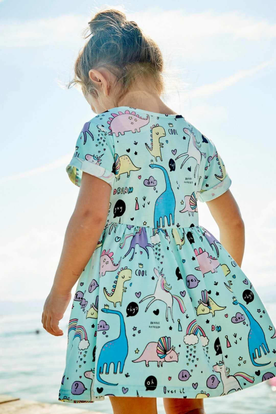 Little Girls Dinosaur Tunic Short Sleeve Summer Casual Dress size 2t(1t-2t) by Bumeex (Image #4)