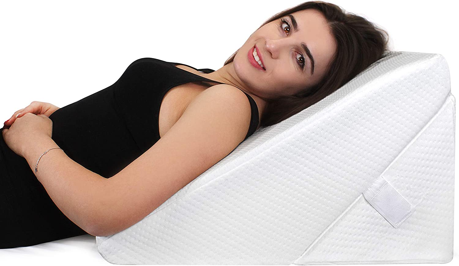 bed wedge pillow - Cooling Gel Memory Foam Top, Adjustable 9&12 inch Folding Incline Cushion, for Legs and Back Support Pillow, Acid Reflux, Heartburn, Allergies, Snoring, Reading- Soft Washable Cover
