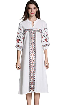 4f73ce2b3c4374 Shineflow Womens Casual 3 4 Sleeve Floral Embroidered Mexican Peasant  Dressy Tops Blouses Shirt Dress Tunic ...  Amazon.co.uk  Clothing