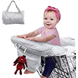 2-in-1 Shopping Cart Cover and Highchair Cover for Baby, Large Size with Sippy Cup Holder, Cell Phone Storage, Shower Gift Idea