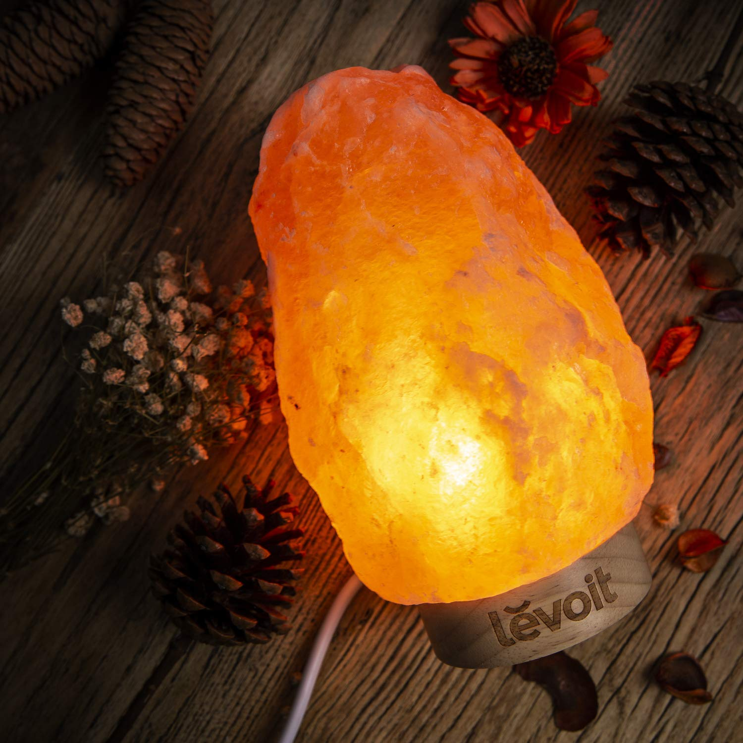 Levoit Kana Himalayan/Hymilain Sea, Pink Crystal Salt Rock Lamp, Night Light, Real Rubber Wood Base, Dimmable Touch Switch, Holiday Gift (ETL Certified, 2 Extra Bulbs), by LEVOIT (Image #7)