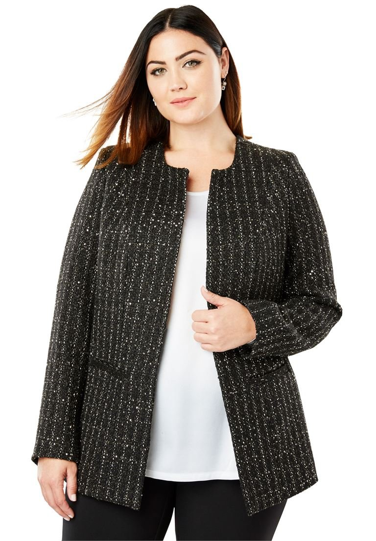 Jessica London Women's Plus Size Sequin Tweed Jacket Black Gold Tweed,22 W by Jessica London