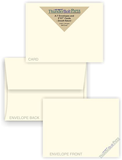 Amazon Com 5x7 Blank Cards With A 7 Envelopes Smooth Natural