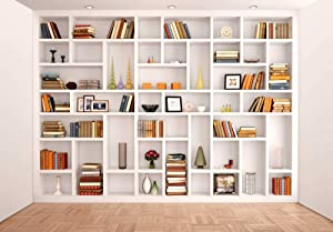 Miktwe 7X5ft Microfiber Bookshelf Backdrop Modern Office Library Background Bookshelves Study Bookrack White Bookshelf Photography with Floor Video Backdrop Photo Studio Props