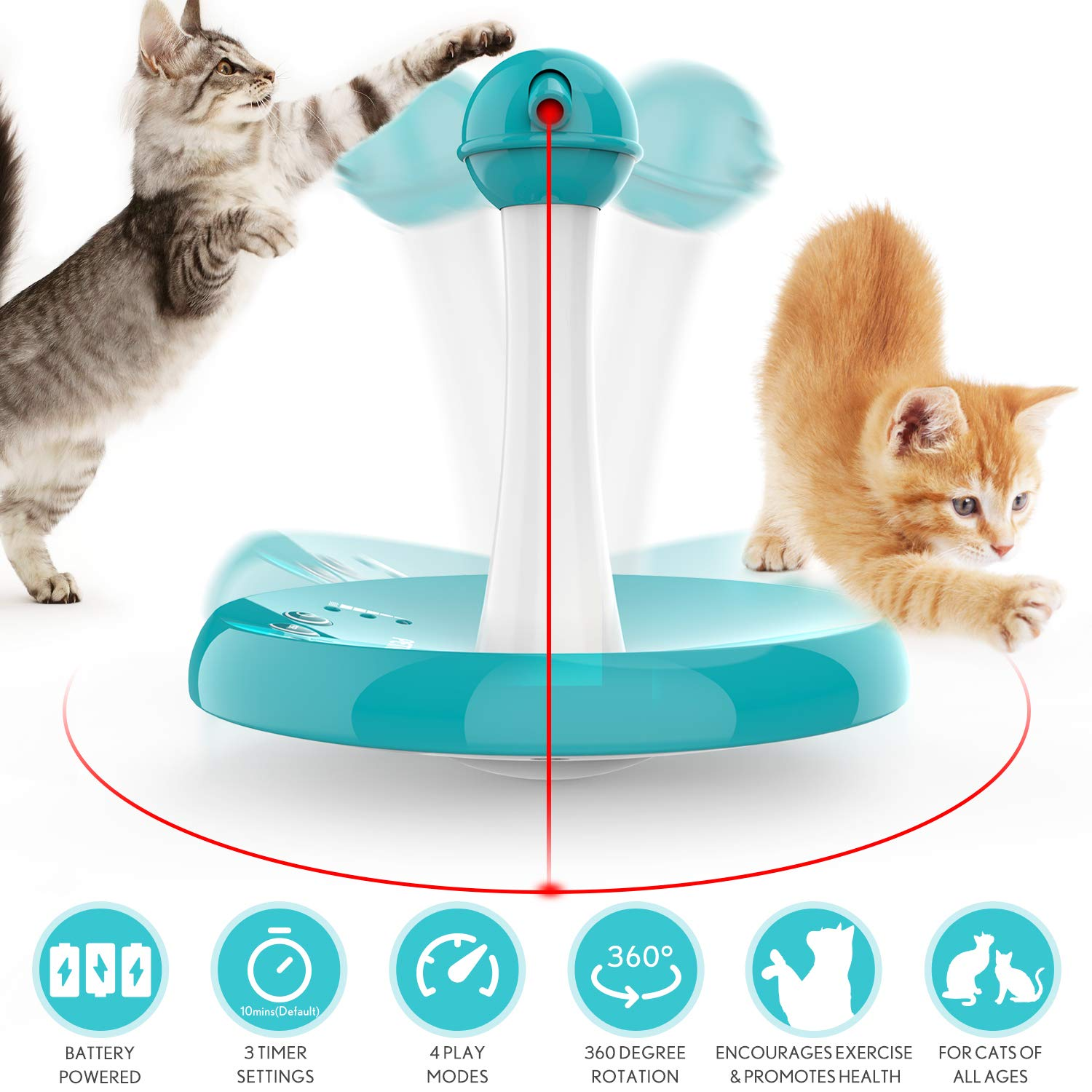 Newest Cat Laser toy,Upgraded Interactive Tumbler Laser Toys for Pet,Automatic Electronic Cats Pets Kitten Chaser Toy…