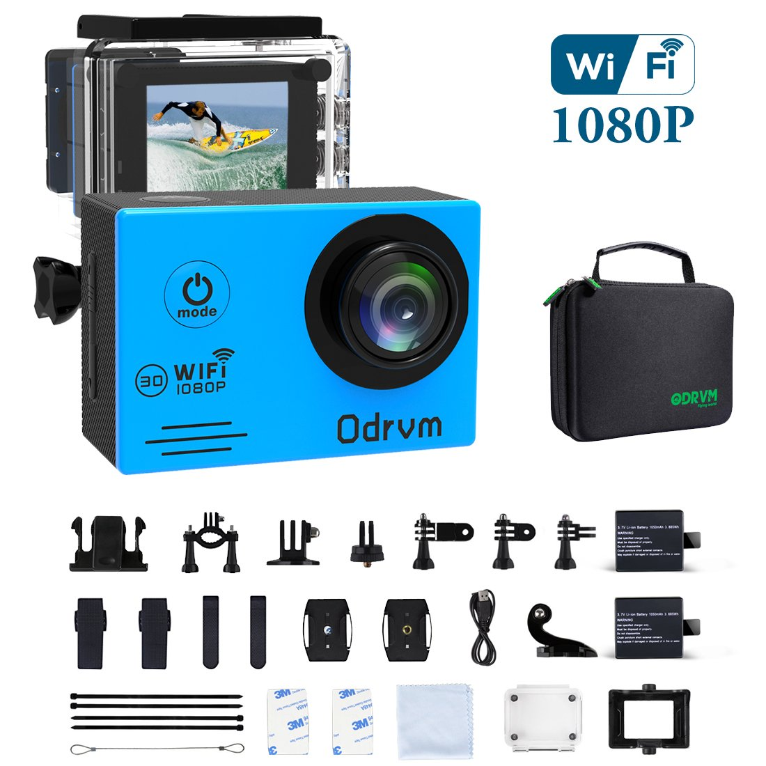 c8004886a72 Amazon.com   WiFi Action Camera Waterproof Cameras - HD 1080P Underwater  Camera Diving 98FT Camcorder with 19PCS Accessories for Kids