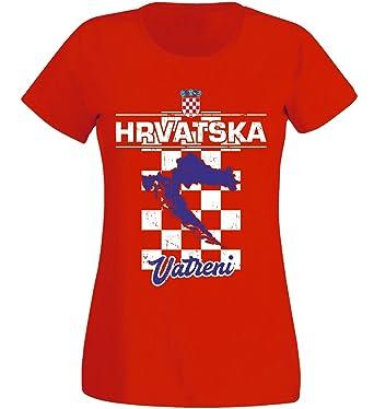 Kroatien Damen T-Shirt Schwarz Trikot Team Nr ALL 10 Fußball Sport WM 2018