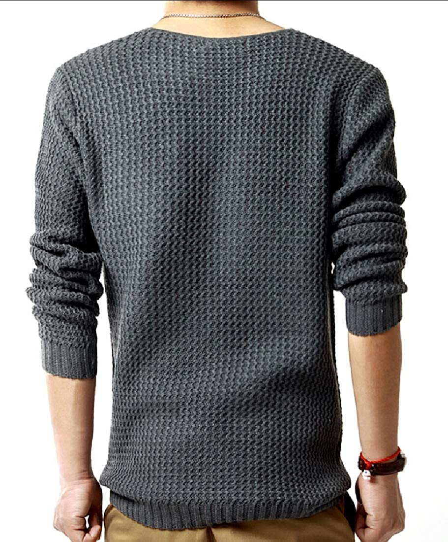 Keaac Men Sweaters Crew Neck Long Sleeve Slim Fit Knit Pullover Casual Sweater