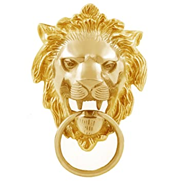 Autofy Brass Lion Face with Ring Badge for All Bikes Gold